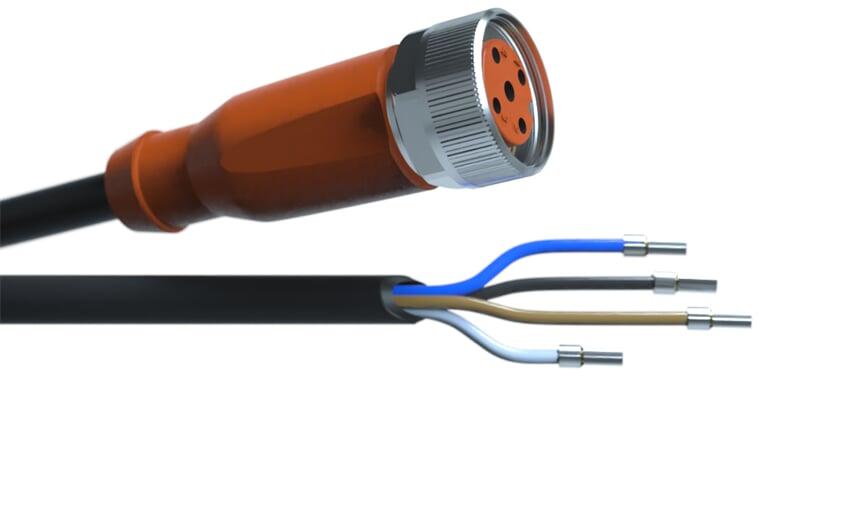 Sensor cable 5 m PUR M12 4-pole IP69k