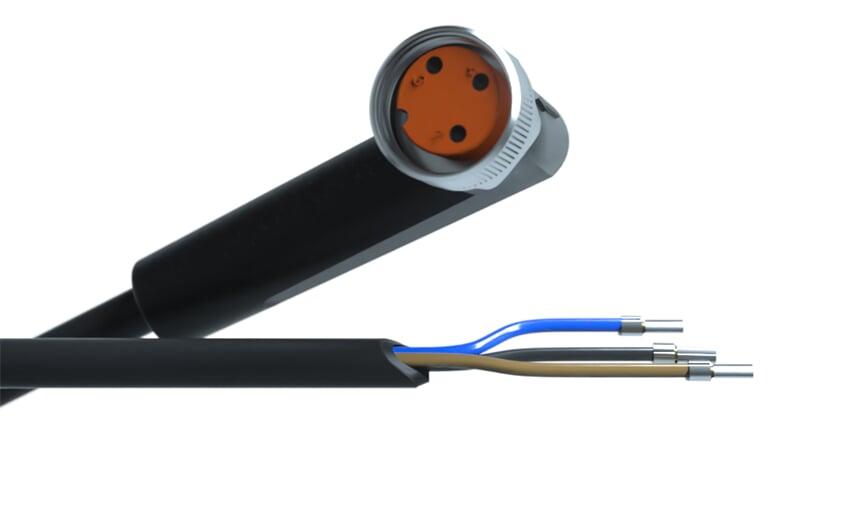 Sensor cable 10 m PUR M8 3-pole IP69k