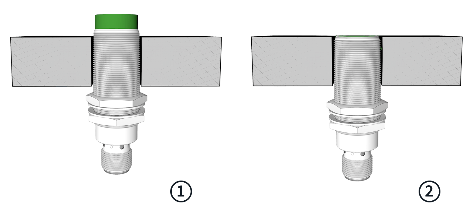Inductive sensor flush and non-flush mounted