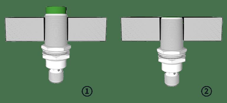 Induktiver Sensor bündig und nicht bündig eingebaut